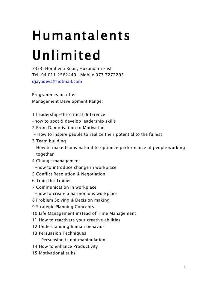 Humantalents Training Programmes 2011