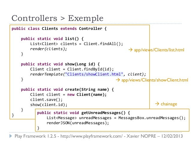 Controllers > Exemplepublic class Clients extends Controller {      public static void list() {          List<Client> clie...