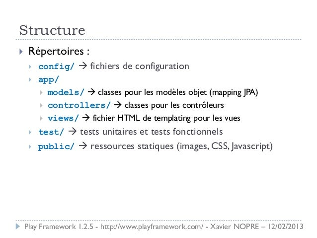 Structure    Répertoires :        config/  fichiers de configuration        app/          models/  classes pour les ...