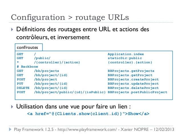Configuration > routage URLs    Définitions des routages entre URL et actions des     contrôleurs, et inversement     con...