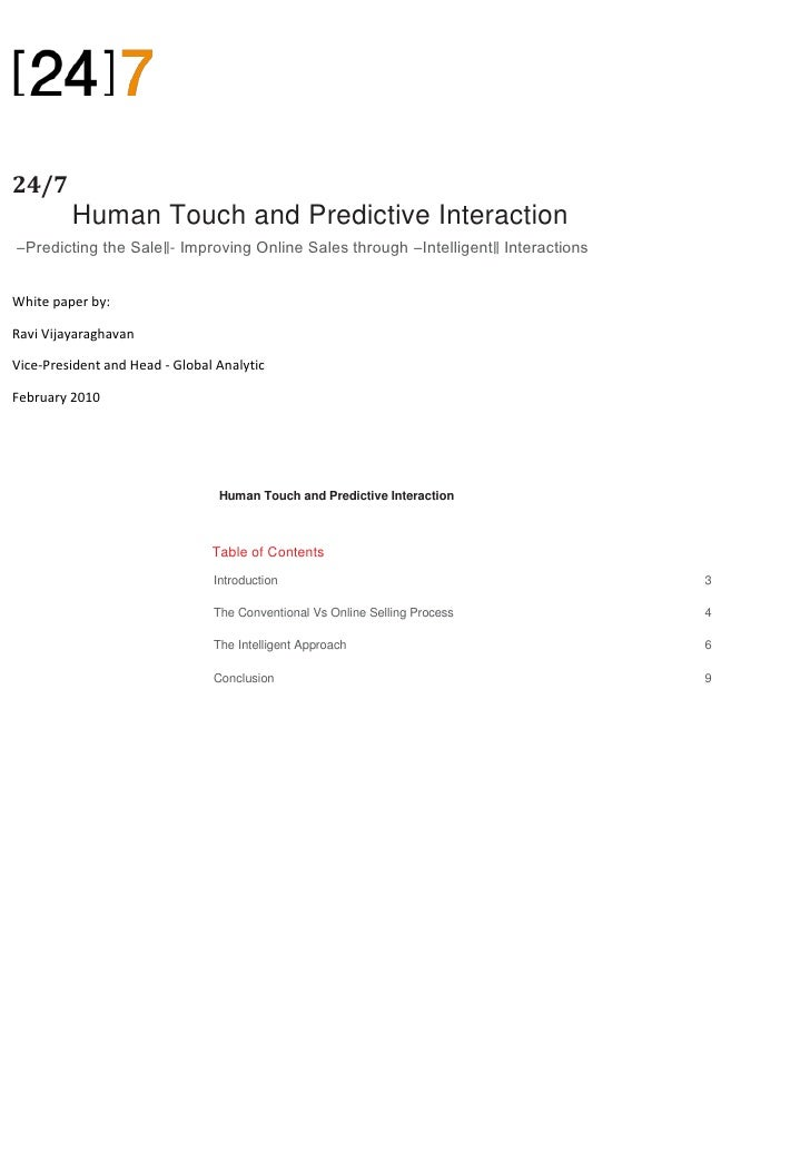 24/7 P         Human Touch and Predictive Interaction―Predicting the Sale‖- Improving Online Sales through ―Intelligent‖ I...