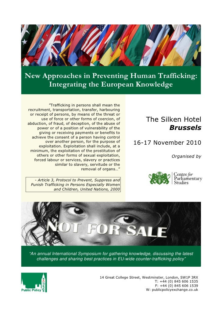 """New Approaches in Preventing Human Trafficking:      Integrating the European Knowledge              """"Trafficking in perso..."""