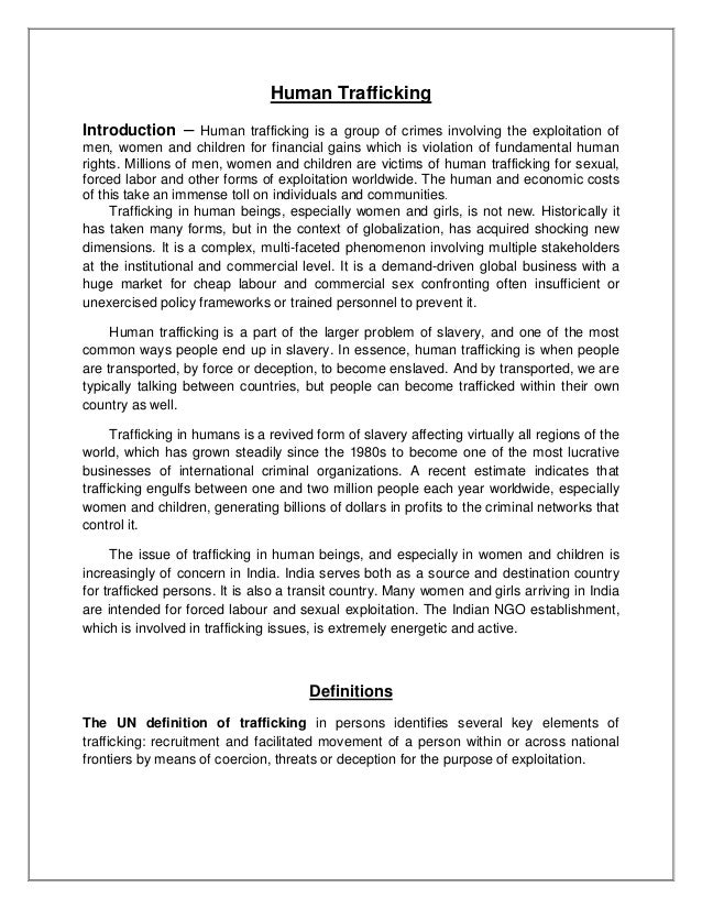 How To Write An Essay In High School Human Trafficking Introduction  Human Trafficking Is A Group Of Crimes  Involving The Exploitation Of Men  English Literature Essay also Essay About Learning English Language Human Trafficking Healthy Lifestyle Essay