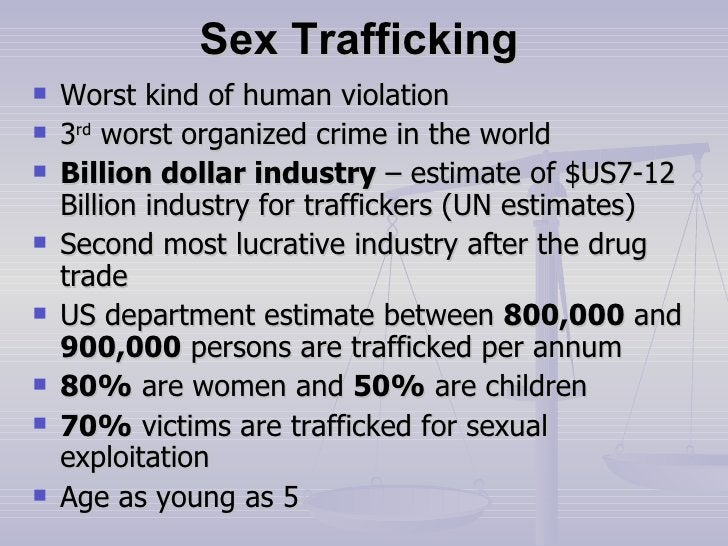 Sex Trafficking <ul><li>Worst kind of human violation </li></ul><ul><li>3 rd  worst organized crime in the world </li></ul...
