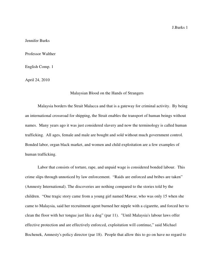human trafficking essay thesis