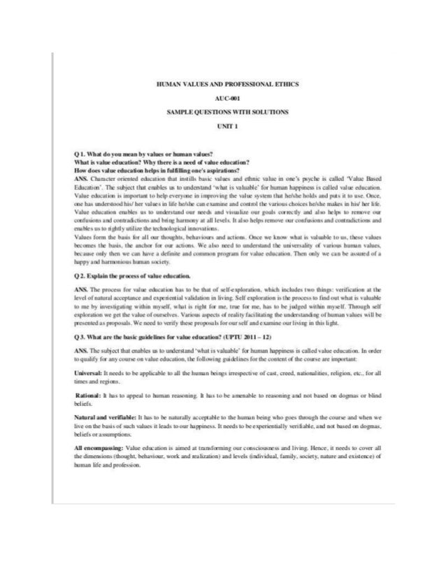 Human values and professional ethics questions and answers ap.cbcs 1…