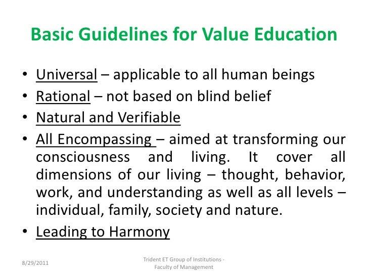 Essay on value education