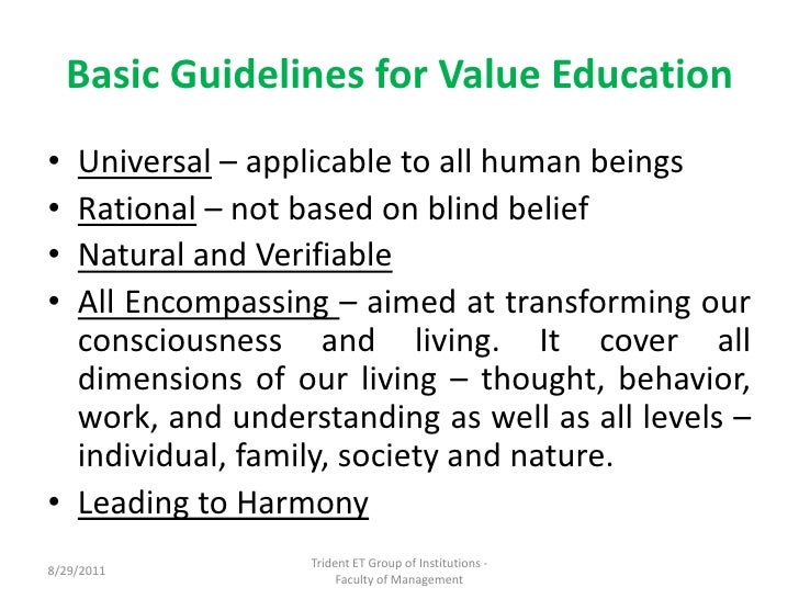 human values professional ethics  5 basic guidelines for value education<br