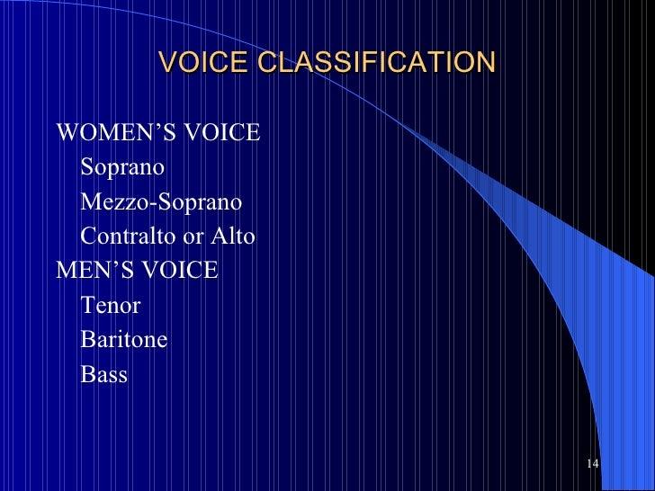VOICE CLASSIFICATION <ul><li>WOMEN'S VOICE </li></ul><ul><li>Soprano </li></ul><ul><li>Mezzo-Soprano </li></ul><ul><li>Con...