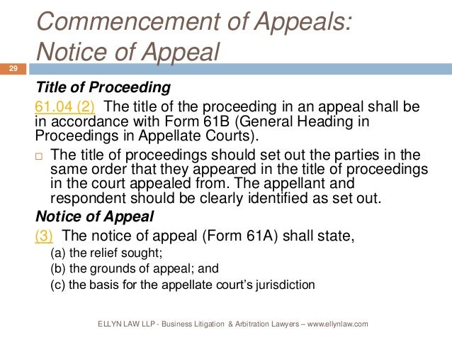 Appeals: Rules 61, 62 and 63, Rules of Civil Procedure, RRO 1990, Reg…
