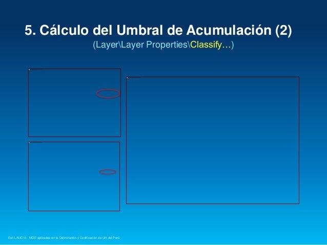 5. Cálculo del Umbral de Acumulación (2) (LayerLayer PropertiesClassify…)  Esri LAUC13 MDE aplicados en la Delimitación y ...