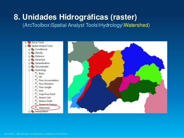 8. Unidades Hidrográficas (raster) (ArcToolboxSpatial Analyst ToolsHydrologyWatershed)  Esri LAUC13 MDE aplicados en la De...