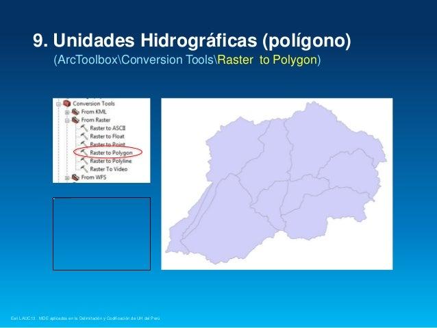 9. Unidades Hidrográficas (polígono) (ArcToolboxConversion ToolsRaster to Polygon)  Esri LAUC13 MDE aplicados en la Delimi...