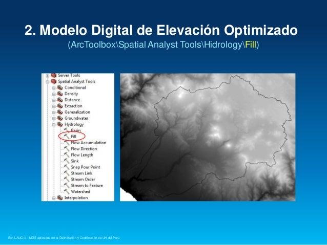2. Modelo Digital de Elevación Optimizado (ArcToolboxSpatial Analyst ToolsHidrologyFill)  Esri LAUC13 MDE aplicados en la ...