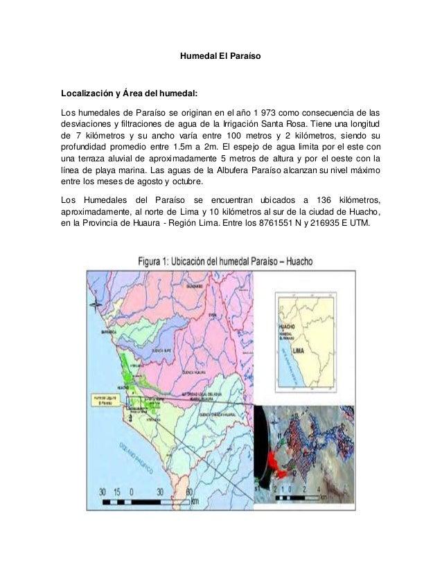 Humedal El Paraíso Localización y Área del humedal: Los humedales de Paraíso se originan en el año 1 973 como consecuencia...