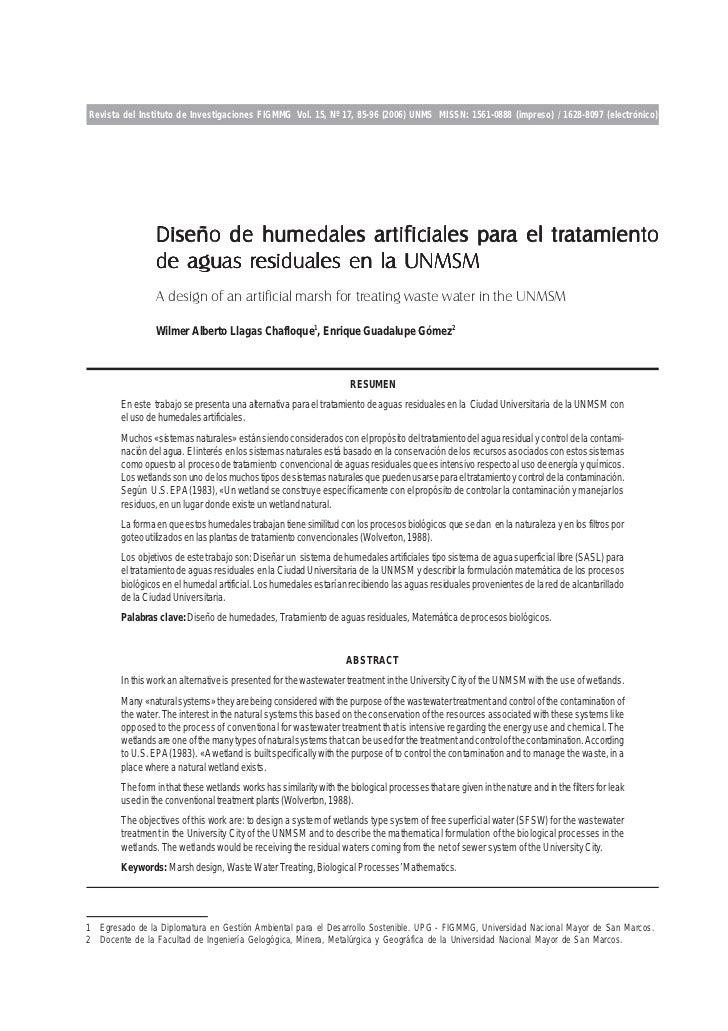 Revista del Instituto de Investigaciones FIGMMG Vol. 15, Nº 17, 85-96 (2006) UNMS MISSN: 1561-0888 (impreso) / 1628-8097 (...