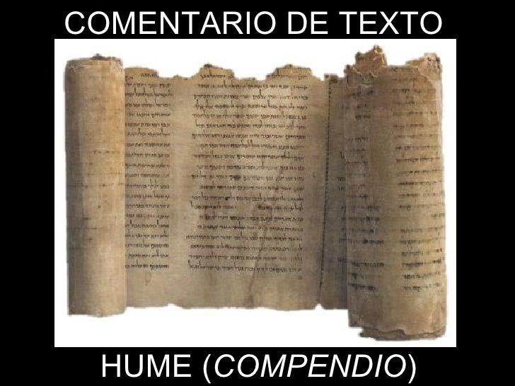COMENTARIO DE TEXTO HUME ( COMPENDIO )