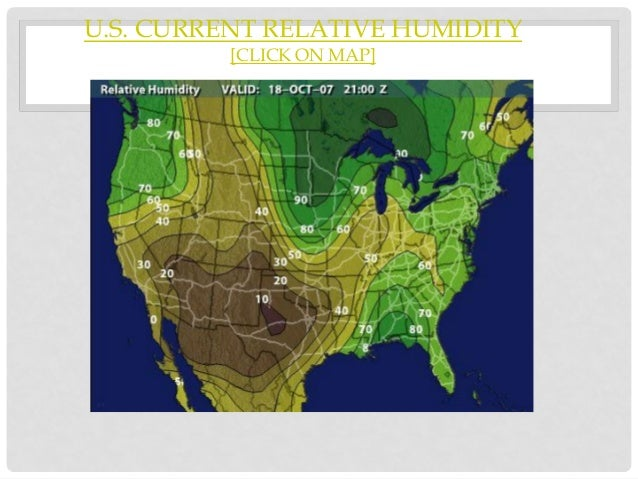 Humidity And Relative Humidity - Humidity map of us
