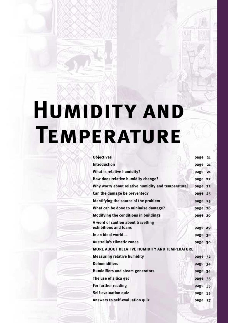 Humidity and Temperature     Objectives                                           page 21     Introduction                ...