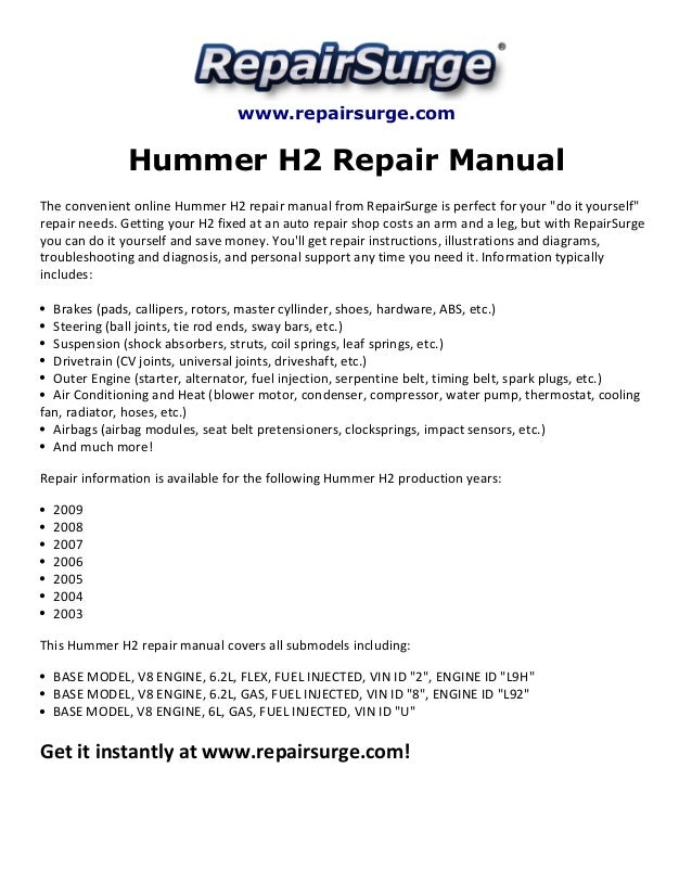 hummer h2 repair manual 2003 2009 rh slideshare net hummer h3 maintenance manual hummer h2 service manual pdf