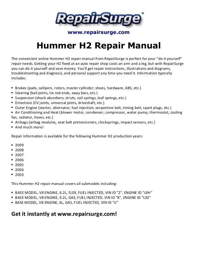 Hummer h2 service manual array hummer h2 repair manual 2003 2009 rh slideshare net cheapraybanclubmaster Choice Image