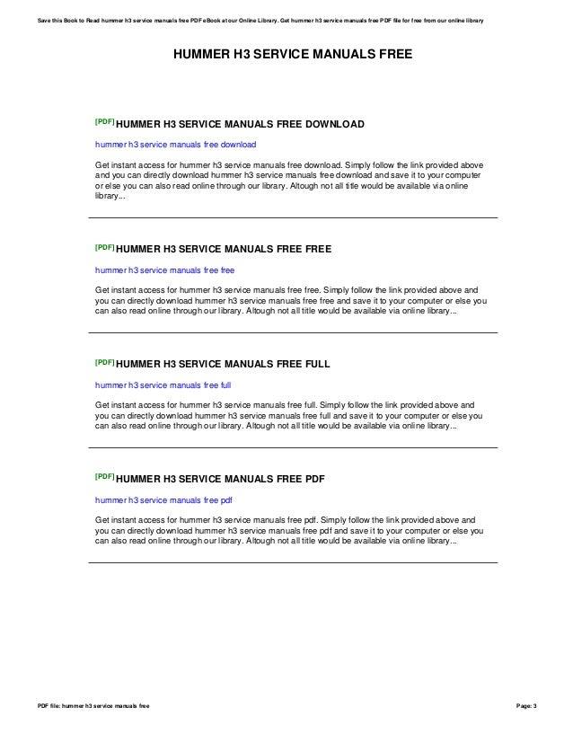 hummer h3 service manual download