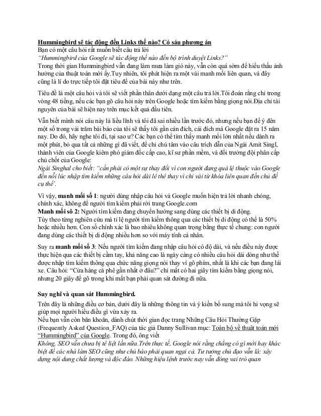 """Hummingbird sẽ tác động đến Links thế nào? Có sáu phương án Bạn có một câu hỏi rất muốn biết câu trả lời """"Hummingbird của ..."""