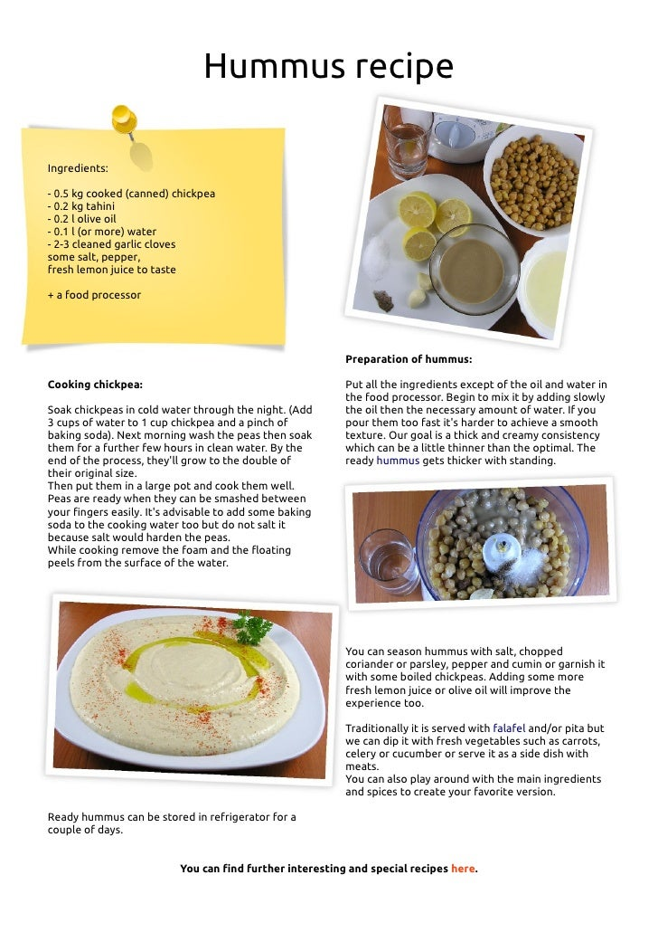 Hummus Recipe In English