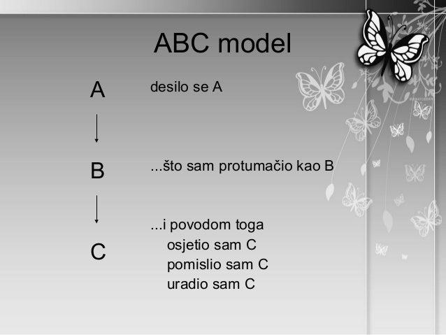 ABC modelA   desilo se A    ...što sam protumačio kao BB    ...i povodom toga        osjetio sam CC       pomislio sam C  ...