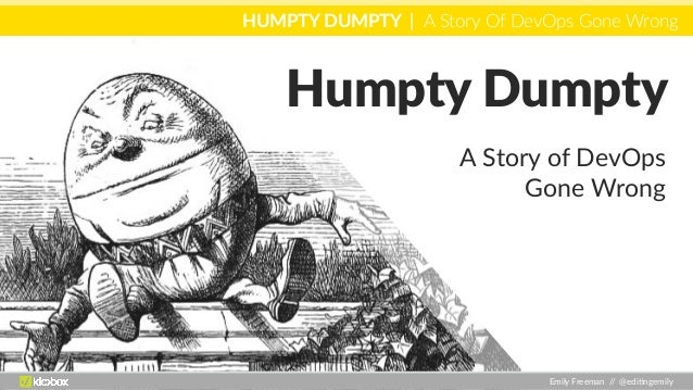 HUMPTY DUMPTY | A Story Of DevOps Gone Wrong Emily Freeman // @edi0ngemily Humpty Dumpty A Story of DevOps Gone Wrong