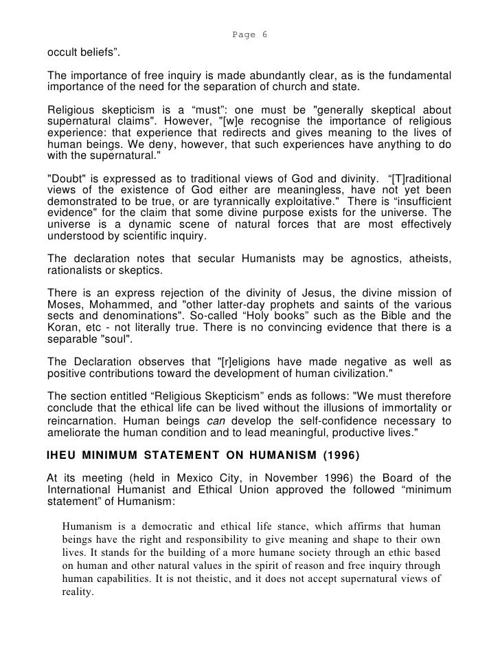 Humanism essay