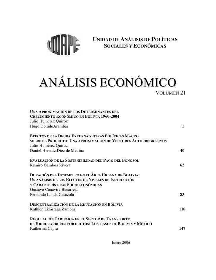 UNIDAD DE ANÁLISIS DE POLÍTICAS                                    SOCIALES Y ECONÓMICAS    ANÁLISIS ECONÓMICO            ...