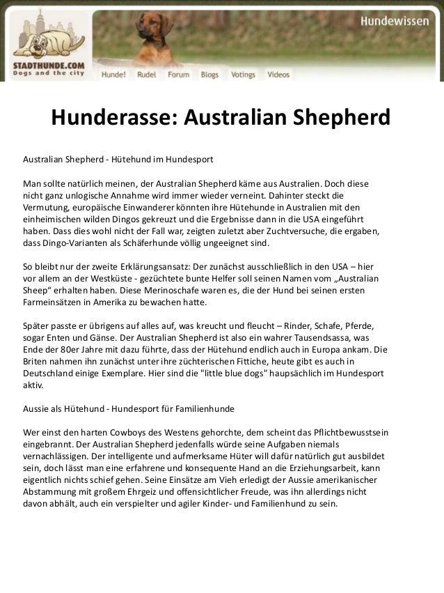 Hunderasse: Australian Shepherd Australian Shepherd - Hütehund im Hundesport Man sollte natürlich meinen, der Australian S...