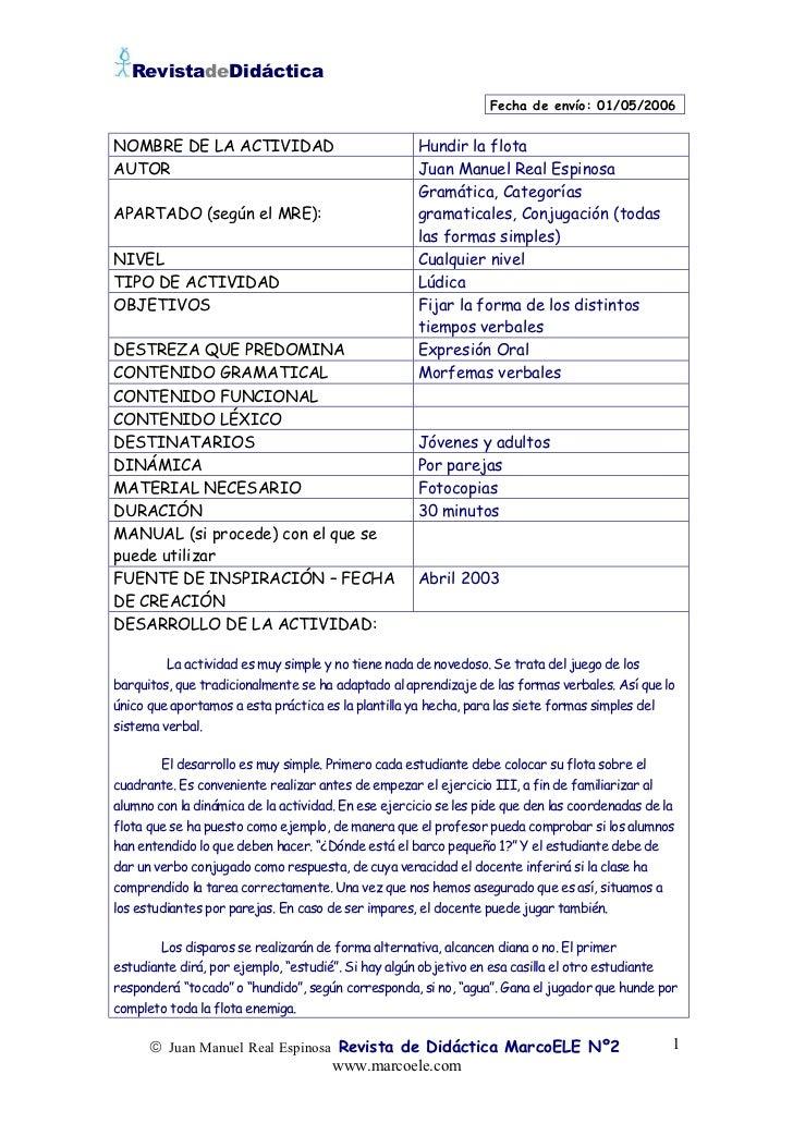 RevistadeDidáctica                                                                 Fecha de envío: 01/05/2006NOMBRE DE LA ...