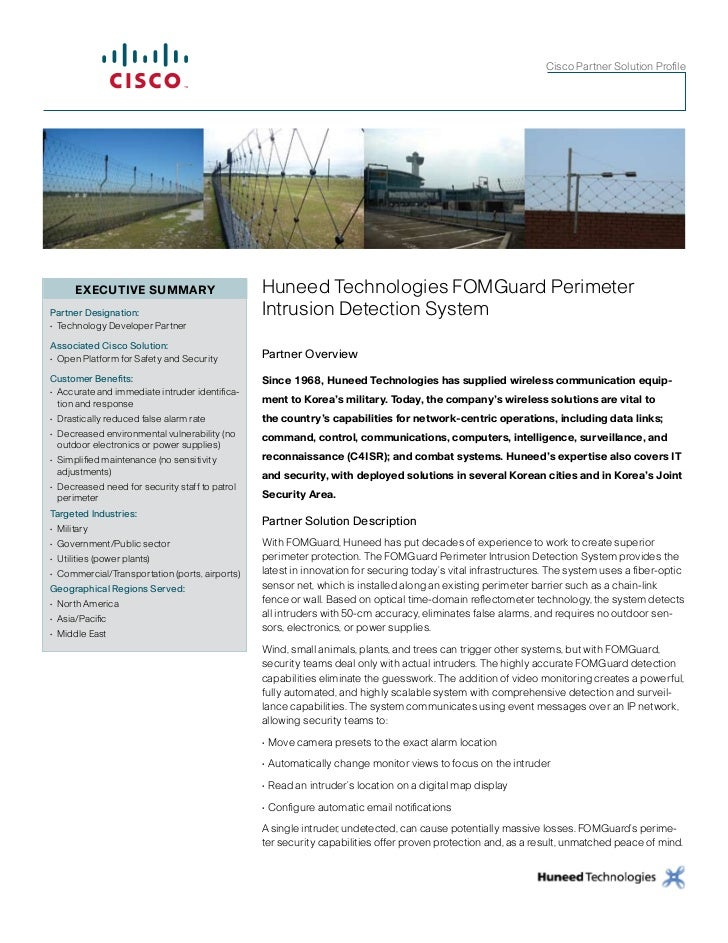 CiscoPartnerSolutionProfile       ExECuTIvE SummARy                          Huneed Technologies FOMGuard PerimeterPart...