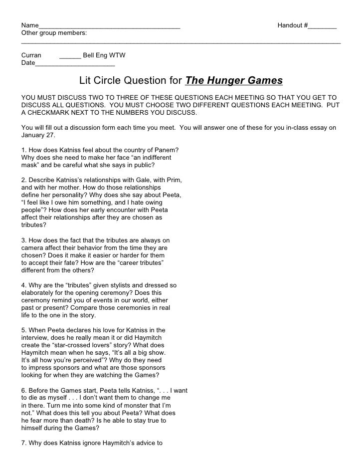 AGS Hunger Games Questions