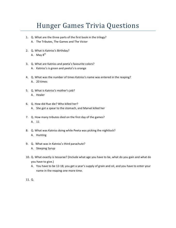Hunger games trivia questions