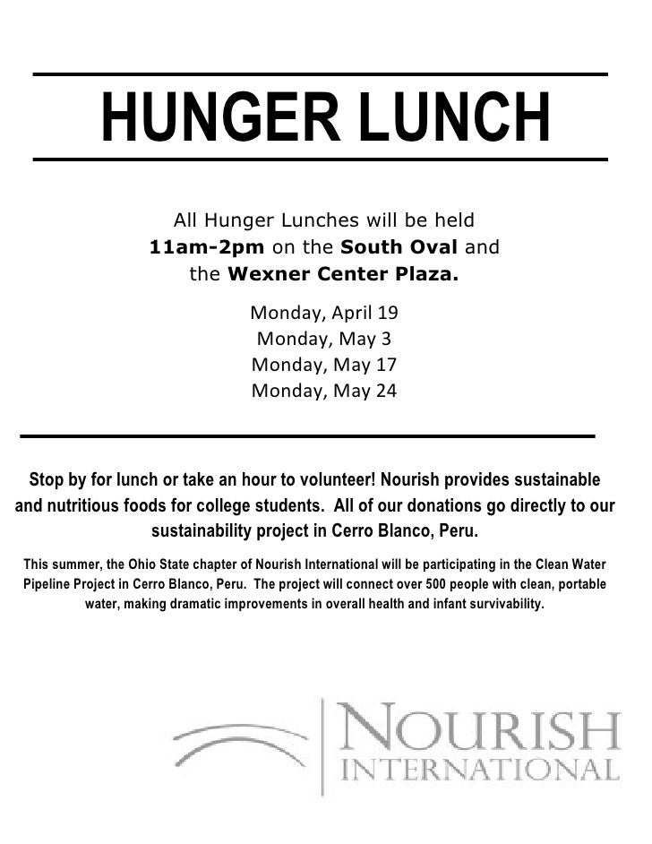 HUNGER LUNCH                         All Hunger Lunches will be held                       11am-2pm on the South Oval and ...