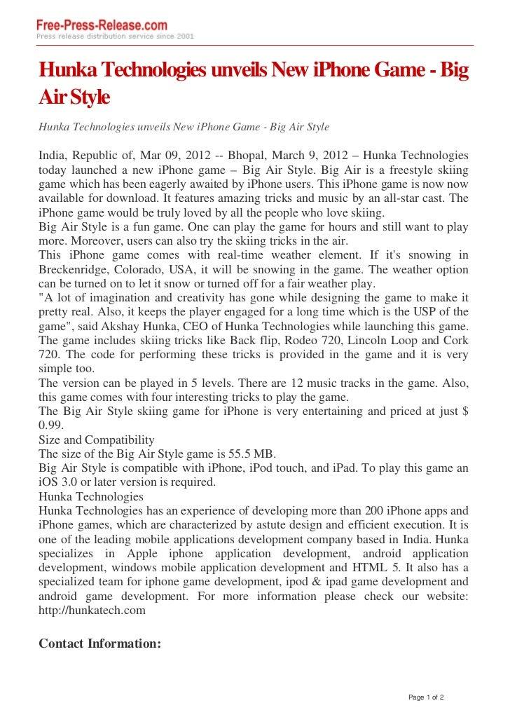 Hunka Technologies unveils New iPhone Game - BigAir StyleHunka Technologies unveils New iPhone Game - Big Air StyleIndia, ...