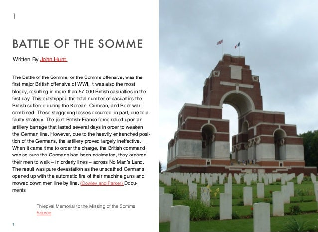 The Battle of the Somme, or the Somme offensive, was the first major British offensive of WWI. It was also the most bloody,...
