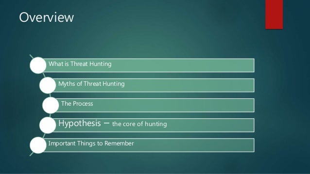 Overview What is Threat Hunting Myths of Threat Hunting The Process Hypothesis – the core of hunting Important Things to R...