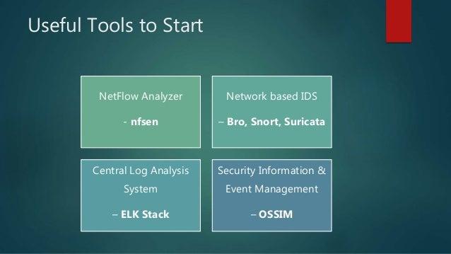 Useful Tools to Start NetFlow Analyzer - nfsen Network based IDS – Bro, Snort, Suricata Central Log Analysis System – ELK ...