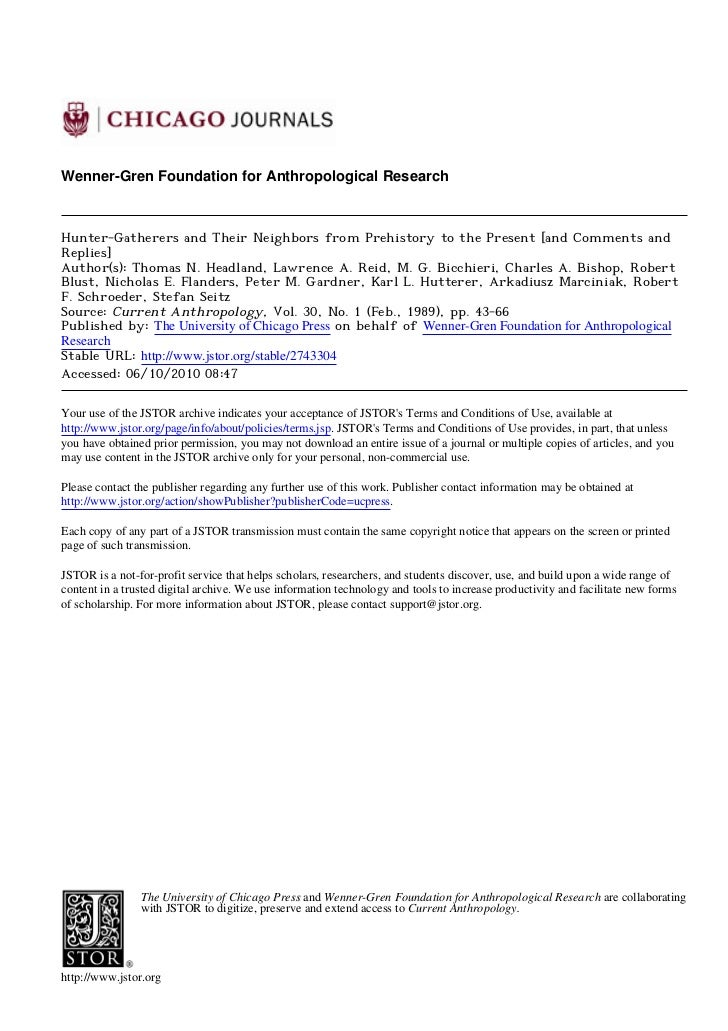 Wenner-Gren Foundation for Anthropological ResearchHunter-Gatherers and Their Neighbors from Prehistory to the Present [an...