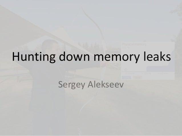 Hunting down memory leaks Sergey Alekseev