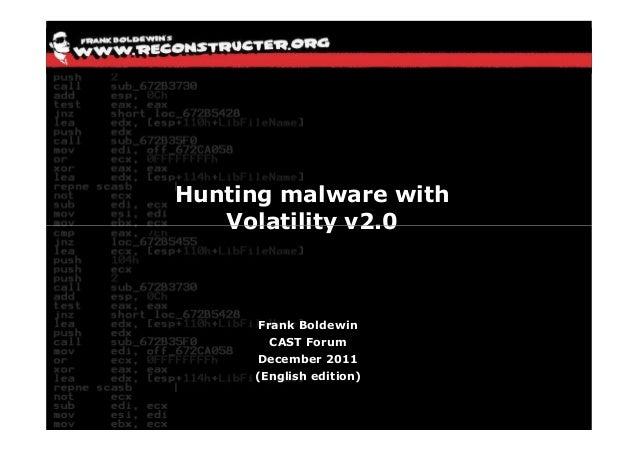 Hunting malware with   Volatility v2.0      Frank Boldewin        CAST Forum     December 2011     (English edition)