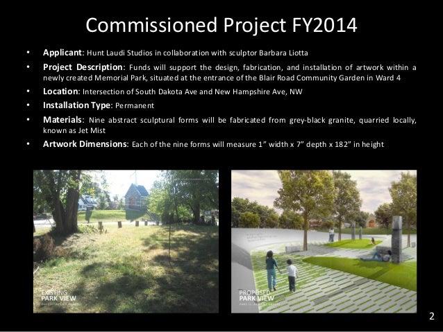 Commissioned Project FY2014 • Applicant: Hunt Laudi Studios in collaboration with sculptor Barbara Liotta • Project Descri...