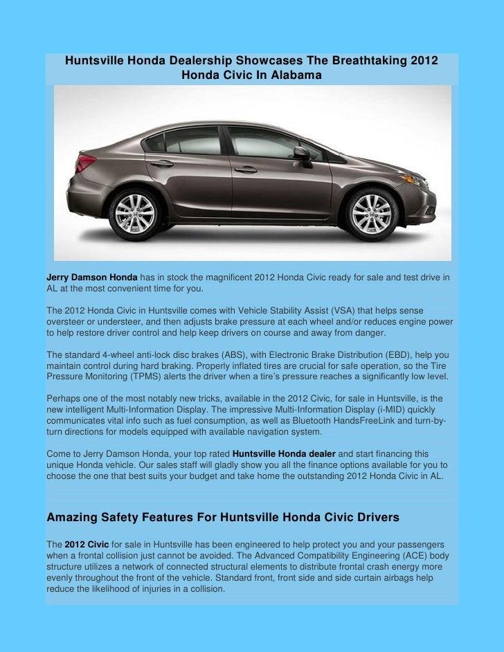 Huntsville Honda Dealership Showcases The Breathtaking 2012 Honda Civic In  AlabamaJerry ...