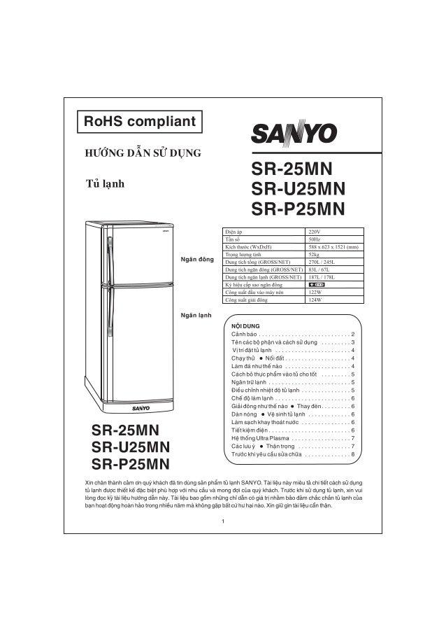 Hướng dẫn sử dụng tủ lạnh sanyo Slide 1