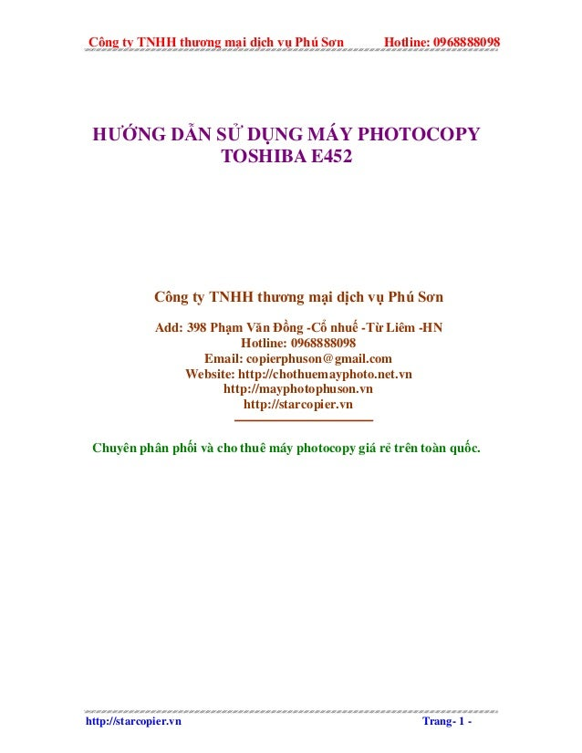 Công ty TNHH thương mại dịch vụ Phú Sơn Hotline: 0968888098 HƯỚNG DẪN SỬ DỤNG MÁY PHOTOCOPY TOSHIBA E452 Công ty TNHH thươ...