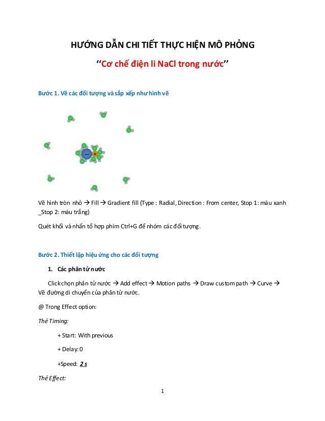 1 HƯỚNG DẪN CHI TIẾT THỰC HIỆN MÔ PHỎNG ''Cơ chế điện li NaCl trong nước'' Bước 1. Vẽ các đối tượng và sắp xếp như hình vẽ...